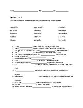 Vocabulary Part 1 Worksheet