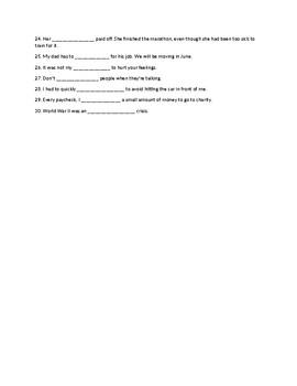 Vocabulary Part 2 Quiz