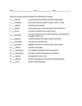 Vocabulary Part 2 Worksheet