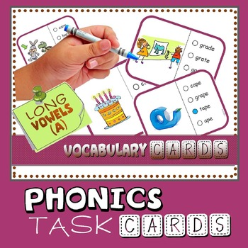 Phonics: Multiple Choice Task Cards 165+  (Long Vowel 'A')