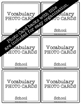School Vocabulary Flashcards (Speech Therapy, Special Education, ESL, etc.)