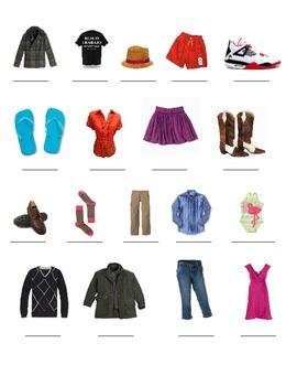 VocabularyGraphic Organizer for Clothing Spanish 1/ ESOL