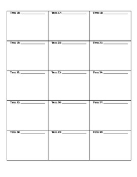 Vocabulary Picture Definitions Template