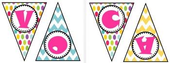 Vocabulary Polka Dot and Chevron Bunting Banner