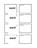 Vocabulary Post-It Note Organizer