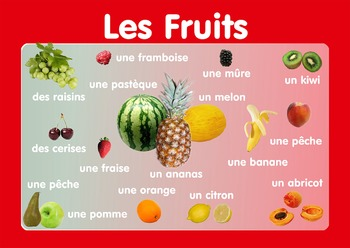 """Vocabulary Poster """" Fruits""""  in French. A3 size. Primary French"""