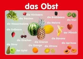 """Vocabulary Poster """" Fruits""""  in German. A3 size. Primary German"""