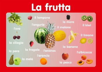 """Vocabulary Poster """" Fruits""""  in Italian. A3 size. Primary Italian"""