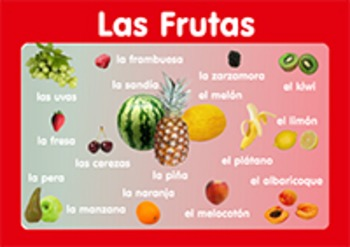 "Vocabulary Poster "" Fruits""  in Spanish. A3 size. Primary"