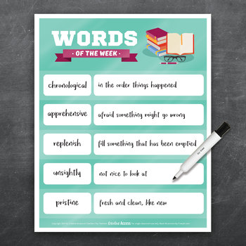 Vocabulary Poster: Words of the Week