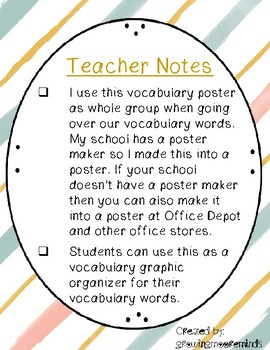 Vocabulary Poster and Organizer