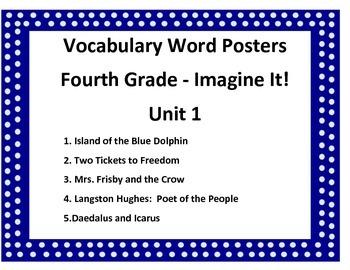Vocabulary Posters:  Grade 4 - Unit 1 Imagine It!