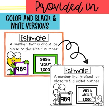 Vocabulary Posters for Addition, Subtraction, & Rounding CC Aligned