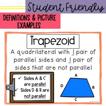 Vocabulary Posters Word Wall for Geometry- Common Core Aligned