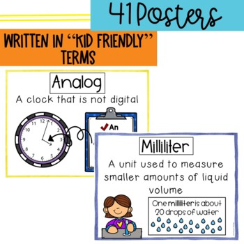 Vocabulary Posters for Measurement, Graphing, & Time- Common Core