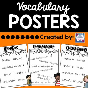 vocabulary posters for writing essays by texas teaching fanatic  tpt