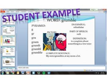 Vocabulary PPT Reading Center Technology Activity (Bilingual Spanish-English)