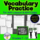 Vocabulary Practice Review for ANY Class or Subject! NO Prep!