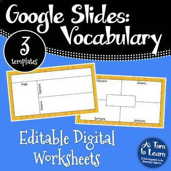 Vocabulary Digital Worksheets for Google Classroom (Editable!)