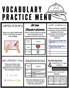 Vocabulary Practice Menu