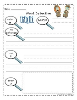 Vocabulary Practice Pages