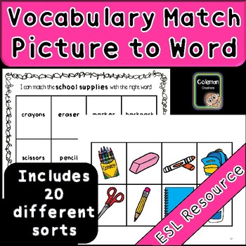 Vocabulary Category Practice (Picture to Word sort)