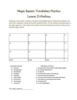Vocabulary Practice- Prefixes