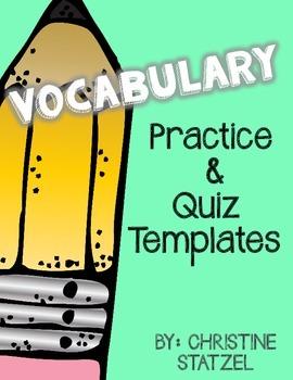 Vocabulary Practice & Quiz Templates Freebie