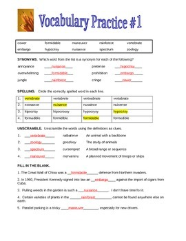 Vocabulary Practice Set - 4 Worksheets