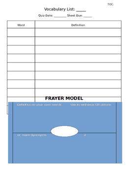 Vocabulary Practice Sheet Graphic Organizer