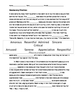 Vocabulary Practice Story Cloze