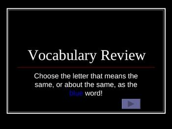 Vocabulary Practice Test Multiple Choice