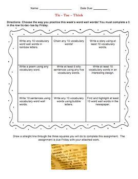 Vocabulary Activity Tic-Tac-Think Menu Choice Board - EDITABLE