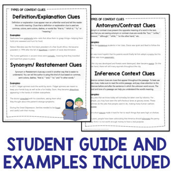 Vocabulary: Practice Using Context Clues Worksheets