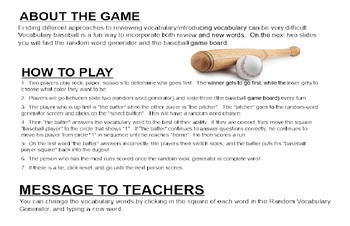 Vocabulary Game Using Sports (Word Doc Version)