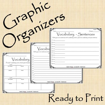 Vocabulary Graphic Organizers - Practice Worksheets - FREEBIE