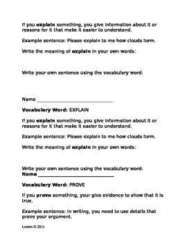 Vocabulary Practice for Testing