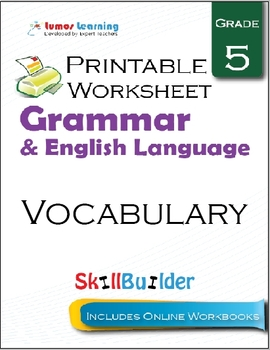Vocabulary Printable Worksheet, Grade 5