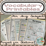 Vocabulary Printables for Any Subject