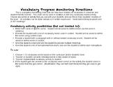 Vocabulary Progress Monitoring Chart