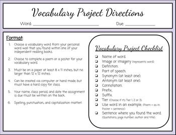 Vocabulary Project Directions