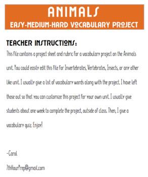 Vocabulary Project Easy Medium Hard Animals