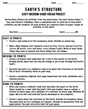 Vocabulary Project Easy Medium Hard Earth's Structure