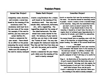 Vocabulary Projects