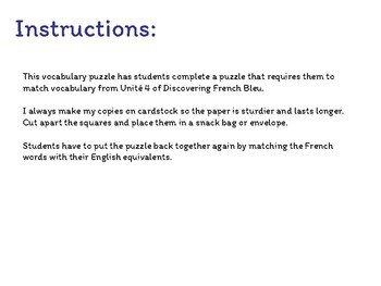Vocabulary Puzzle - French - Discovering French Bleu - Unité 4