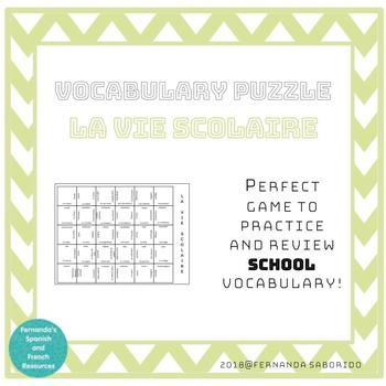 Vocabulary Puzzle - French - La vie scolaire - school life