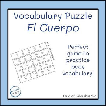 Vocabulary Puzzle - el cuerpo - body parts - Spanish