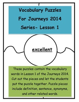 Vocabulary Puzzle for Journeys 2014-Lesson 1