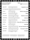 Vocabulary Puzzle for Lamb to the Slaughter by Roald Dahl