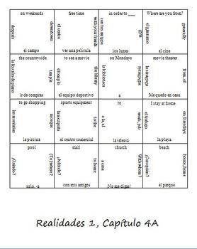 Vocabulary Puzzle for Realidades 4A (Spanish 1)
